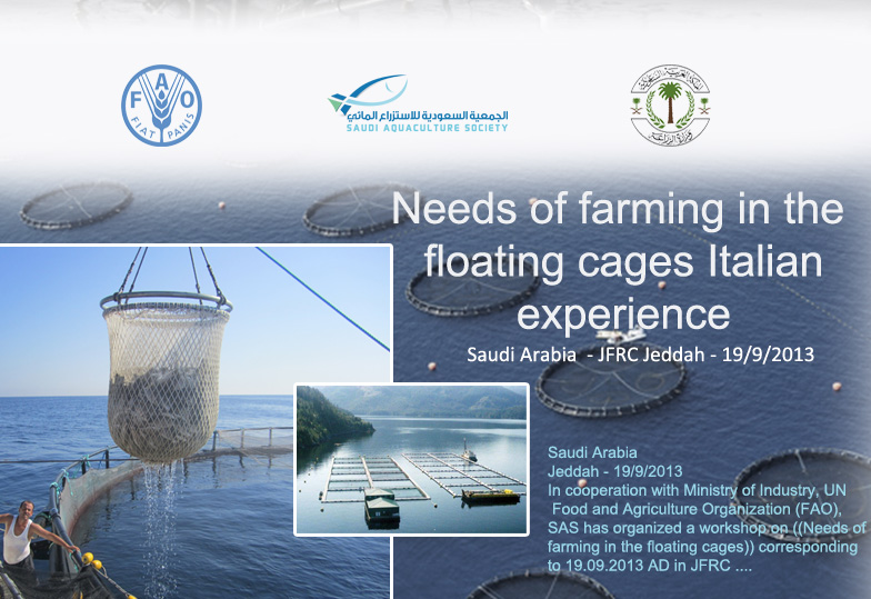 Needs of farming in the floating cages Italian experience